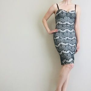 Guess Black and White Lace Date Night Dress